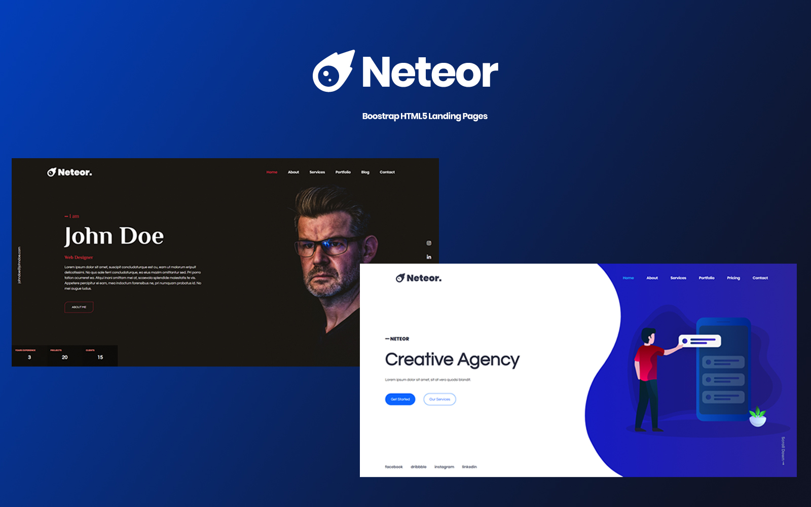 Neteor - Creative Multipurpose Landing Page Template
