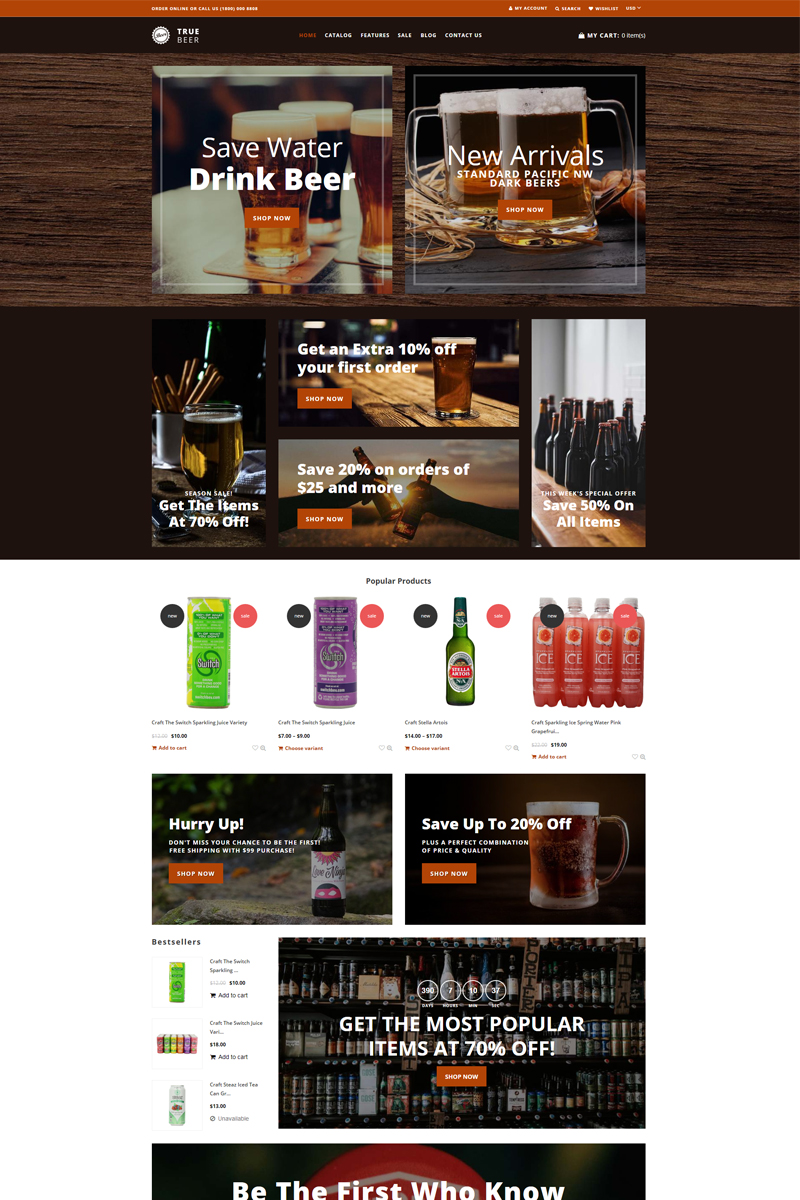 Responsive TrueBeer - Stylish Functional Bootstrap Shopify #75470