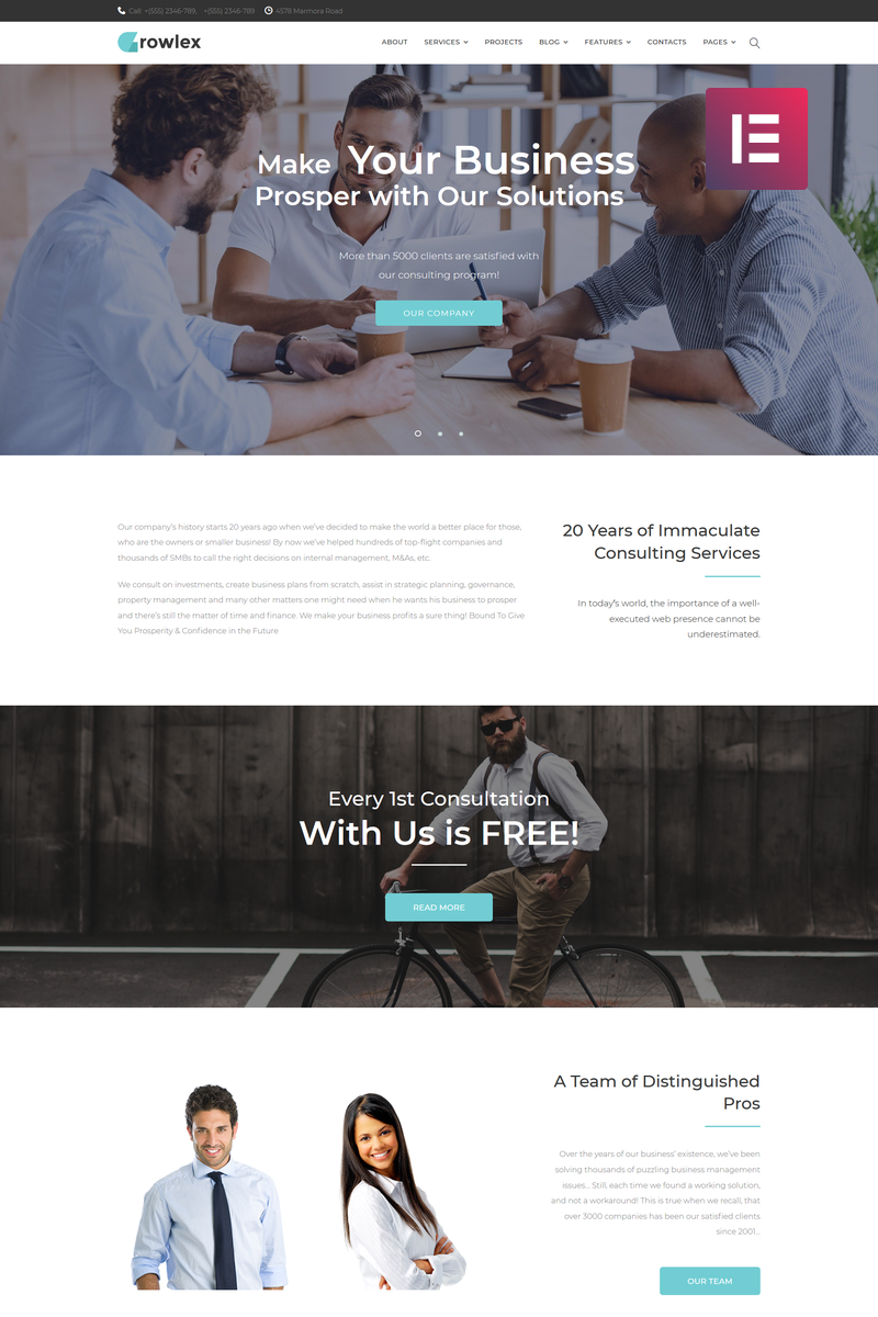 "WordPress Theme namens ""Glowlex - Consulting Services Multipurpose Clean Elementor"" #75408"
