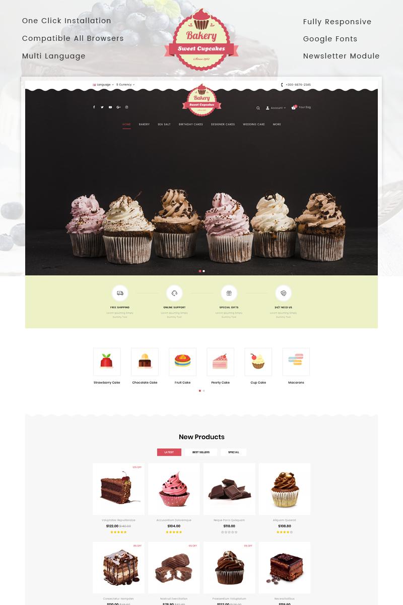 """Bakery Sweet Cupcakes Store"" Responsive OpenCart Template №75571"
