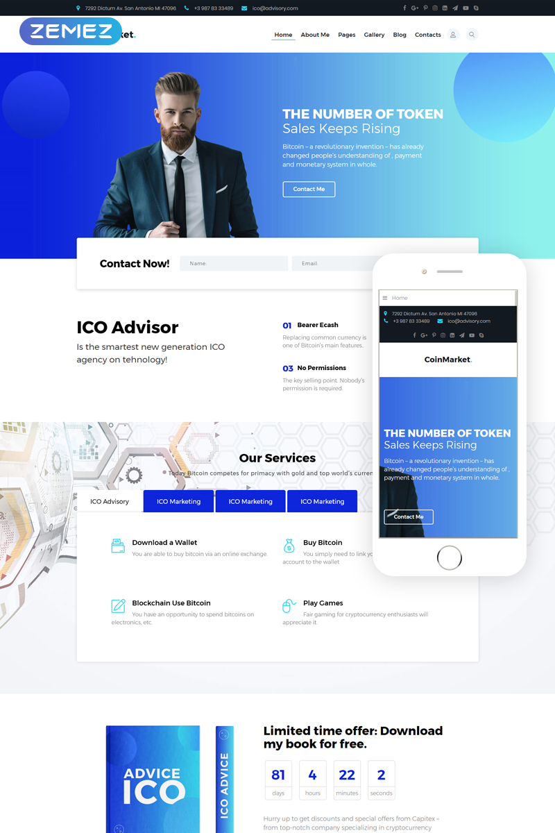 CoinMarket - Finance & Commerce Ready-to-use Corporate Bootstrap Joomla Template - screenshot