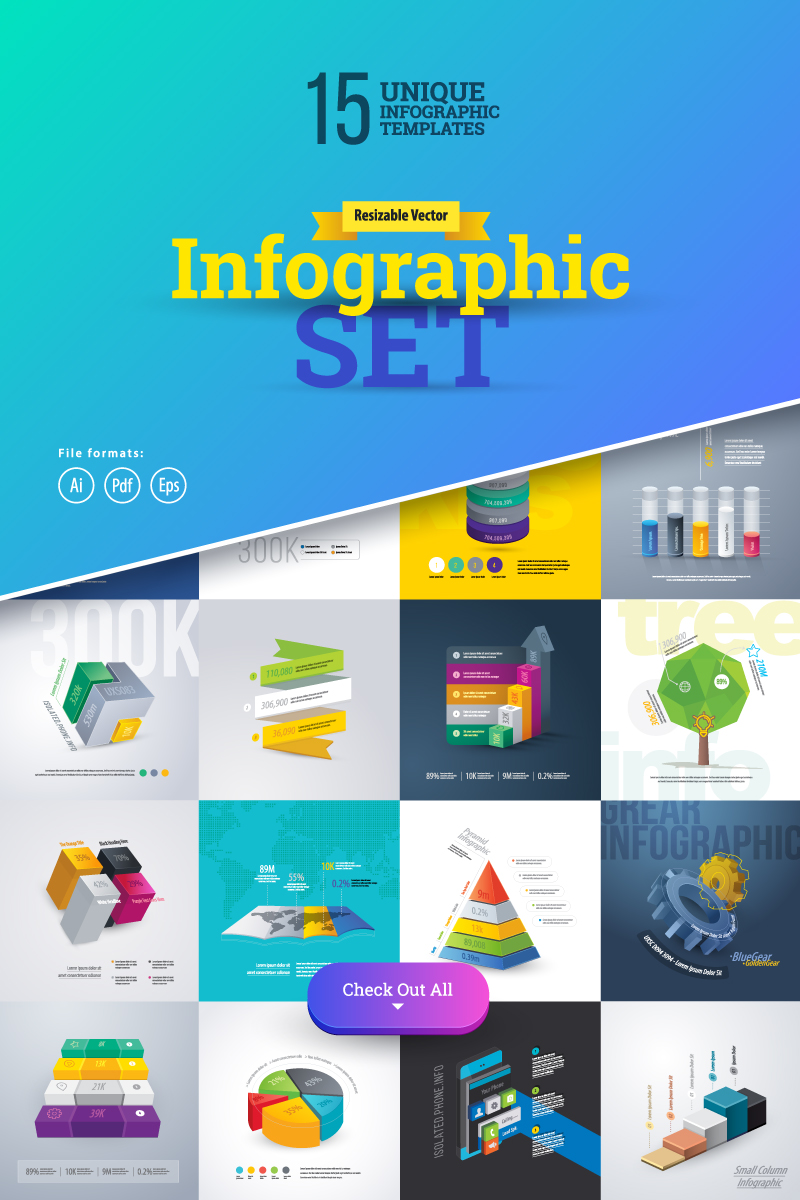 3D Business Infographics Set-01 İnografik Elemanları #75558