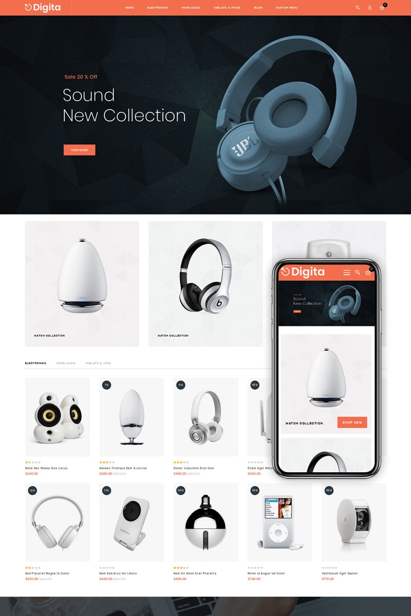 Digita - Electronics Shop Magento-tema #75587