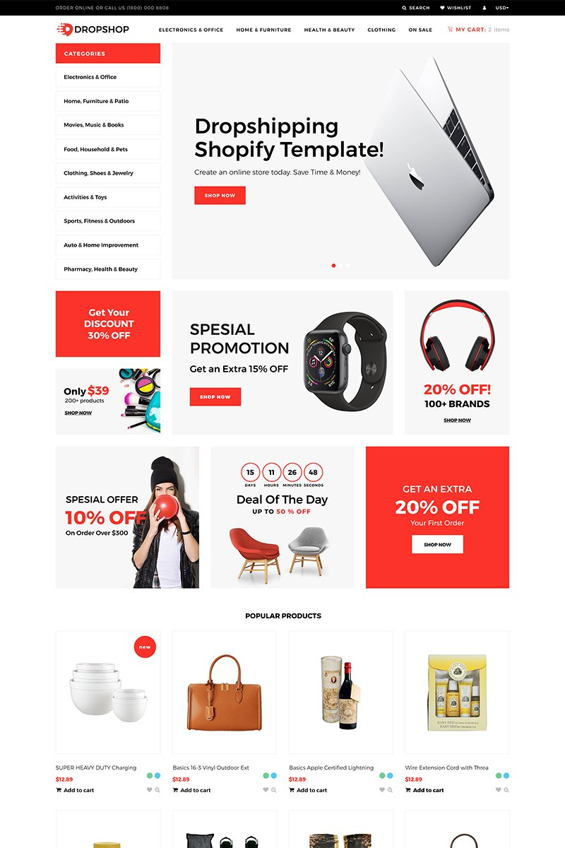 DropShop - Drop Shipping Store Modern Shopify Theme - screenshot