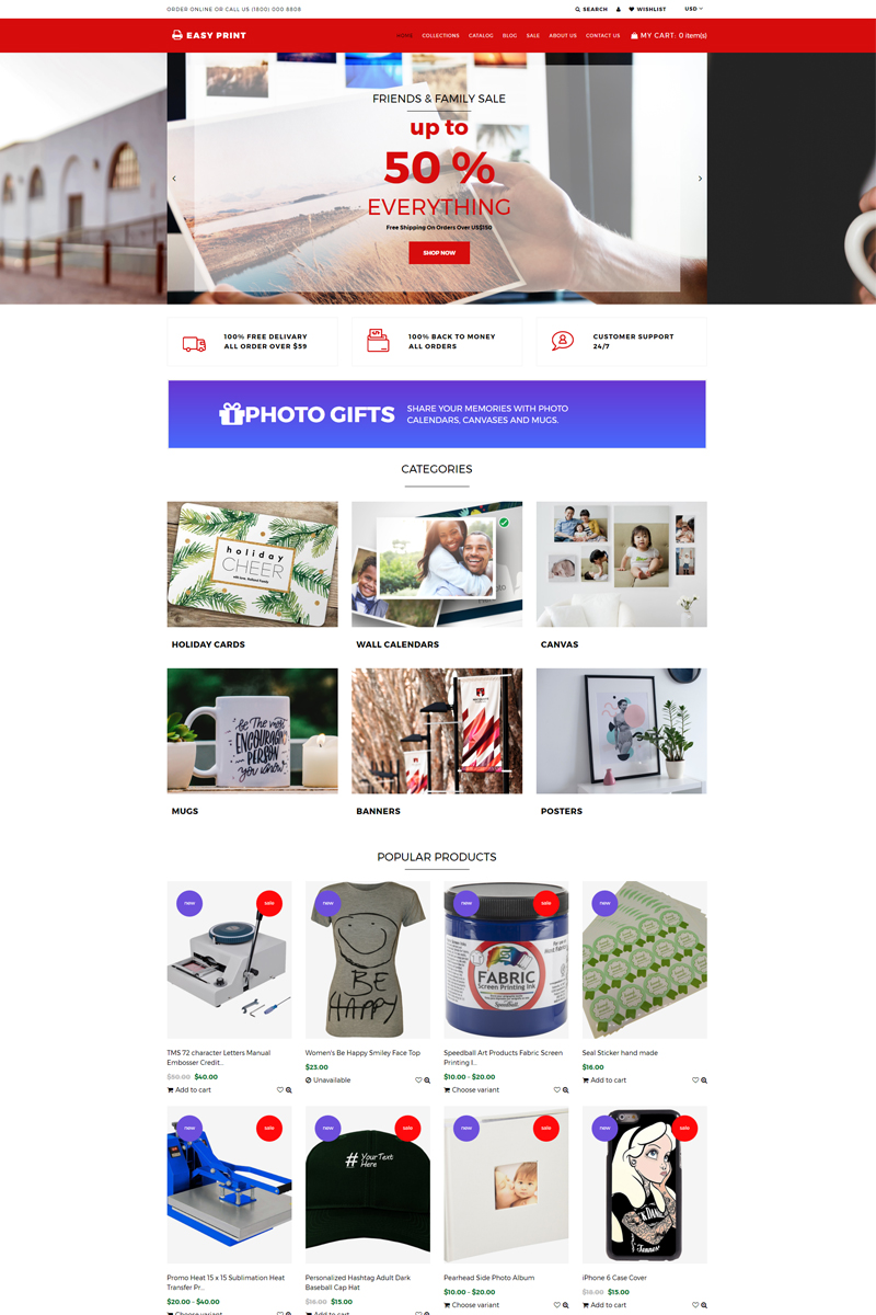 """""""Easyprint - Print Multicurrency Simple Shopify Theme"""" Responsive Shopify Thema №75532"""