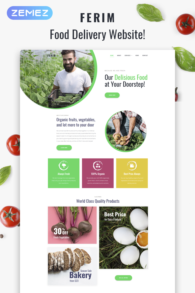 Ferim - Food Delivery Multipurpose Minimal Elementor WordPress Theme - screenshot