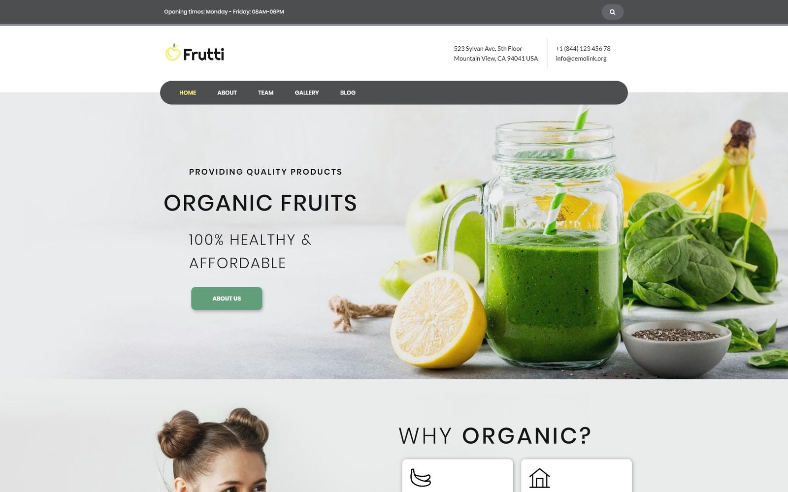 """""""Frutti - Organic Food Multipurpose Classic Elementor"""" - адаптивний WordPress шаблон №75535"""