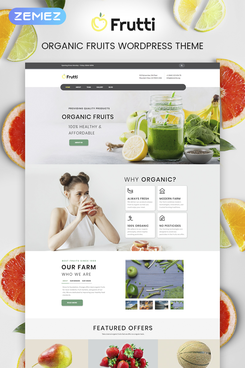 """Frutti - Organic Food Multipurpose Classic Elementor"" 响应式WordPress模板 #75535"