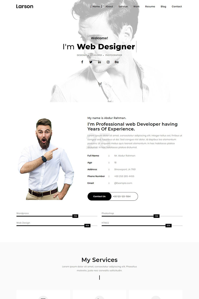 "Landing Page Template namens ""Larson - Minimal Personal/Portfolio Template"" #75570"