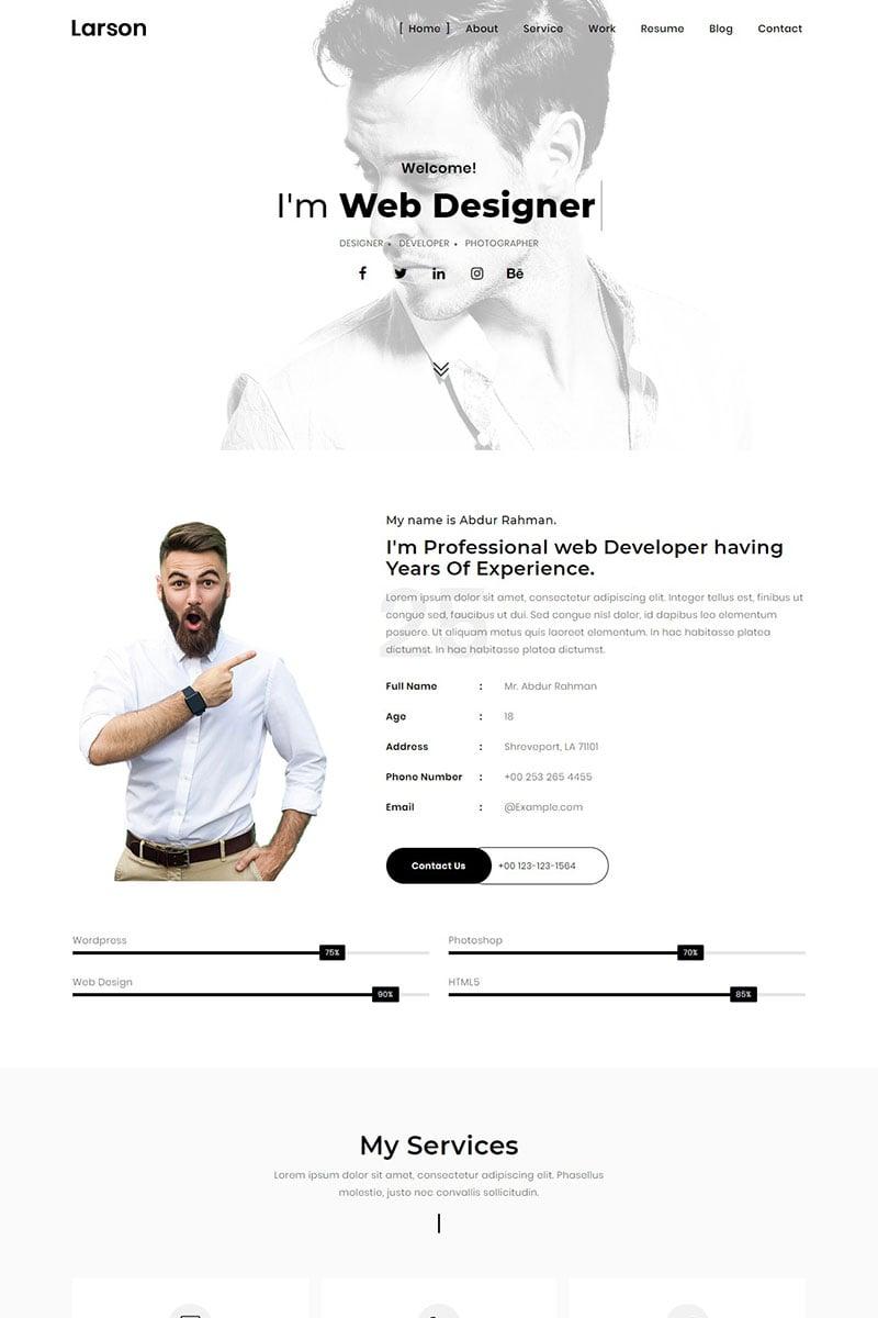 Larson - Minimal Personal/Portfolio Template Landing Page Template