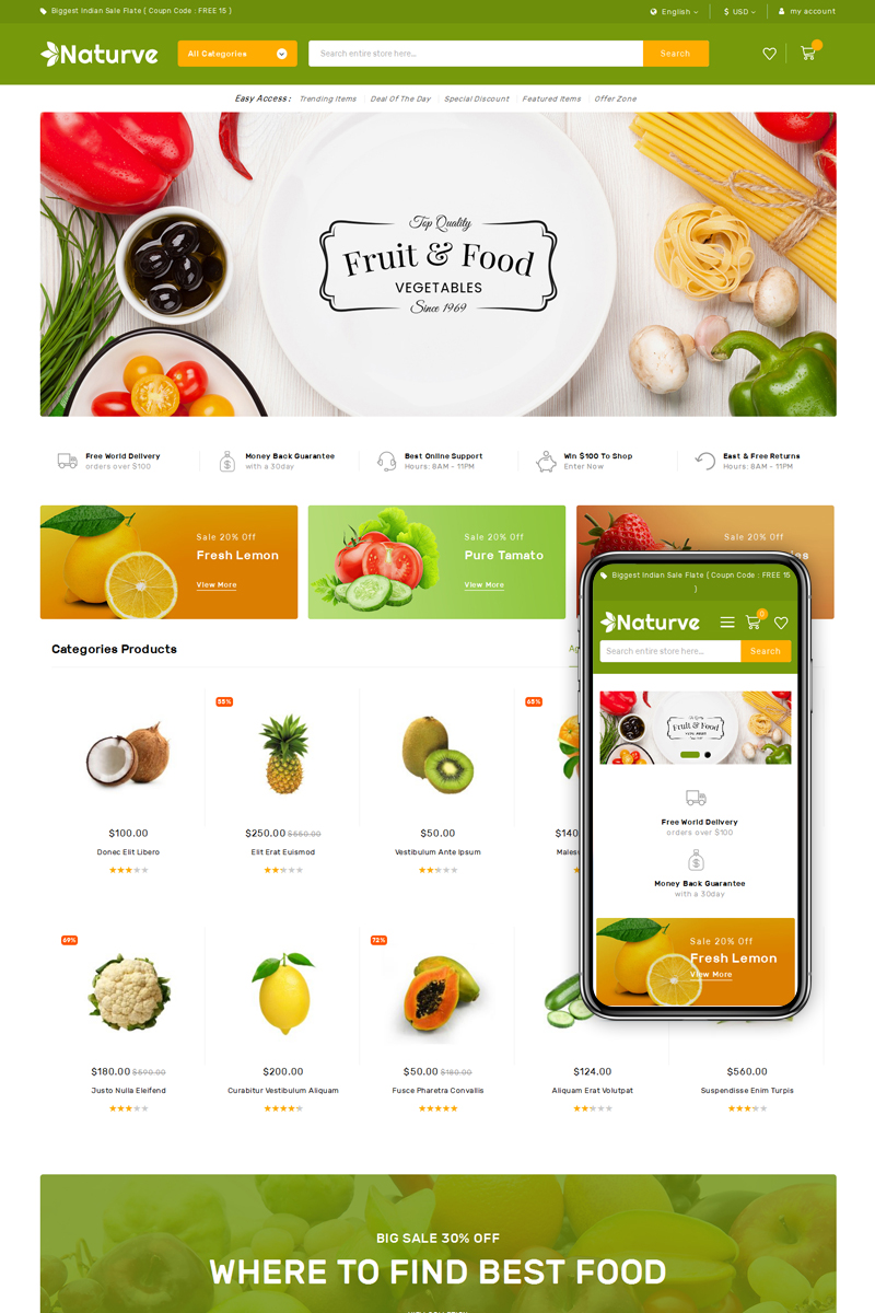 "Magento Theme namens ""Naturve Vegetable Store"" #75592 - Screenshot"