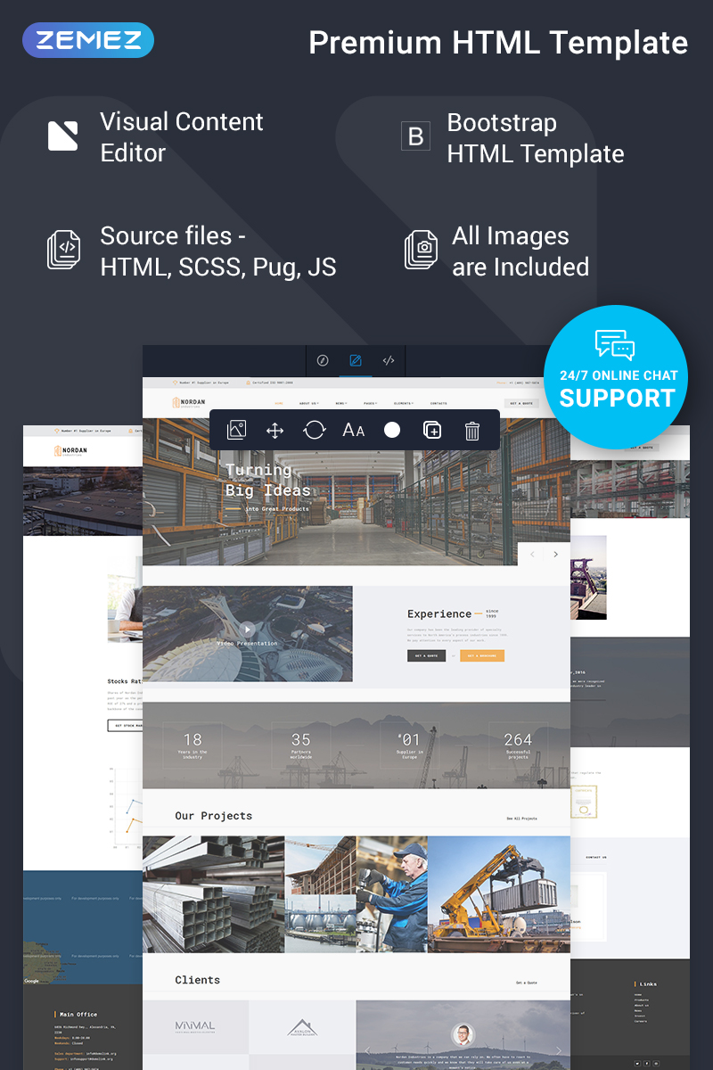 "Plantilla Web ""Nordan - Industrial  Ready-to-Use Modern Novi HTML"" #75534"