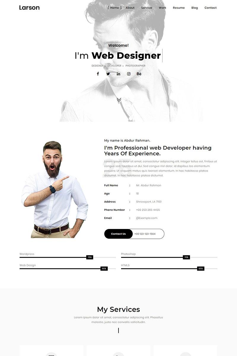 Responsywny szablon Landing Page Larson - Minimal Personal/Portfolio Template #75570