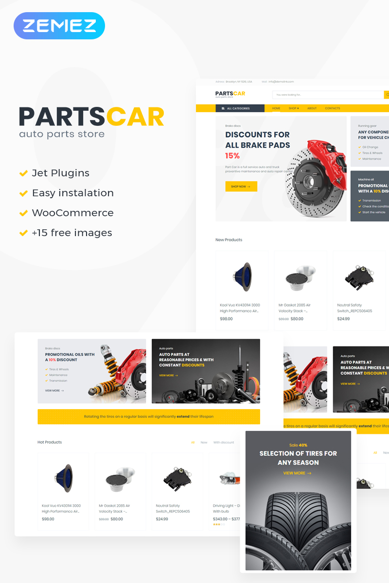 "Responzivní WooCommerce motiv ""PartsCar - Car Repair Classic Elementor"" #75525"