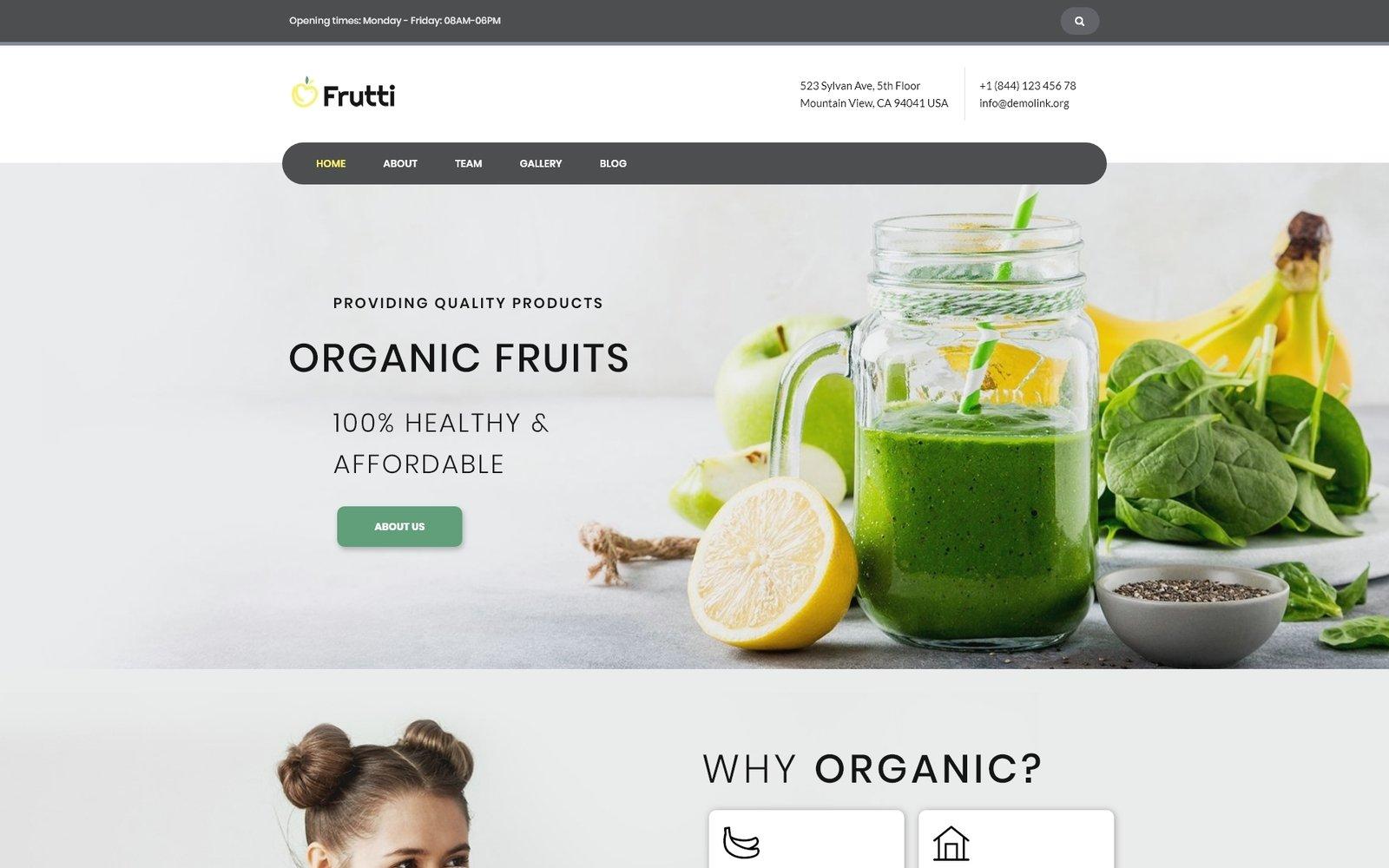 Reszponzív Frutti - Organic Food Multipurpose Classic Elementor WordPress sablon 75535