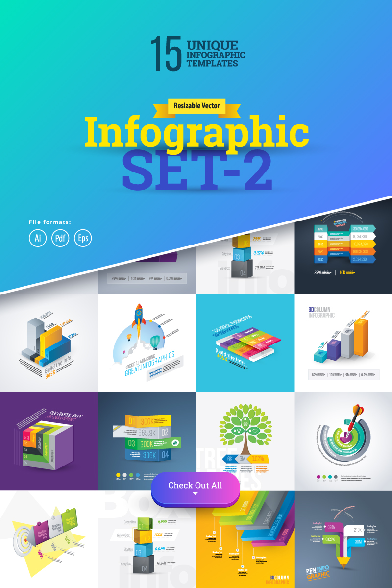 "Template Elementi infografici #75559 ""Most Use 3D Set-2"""