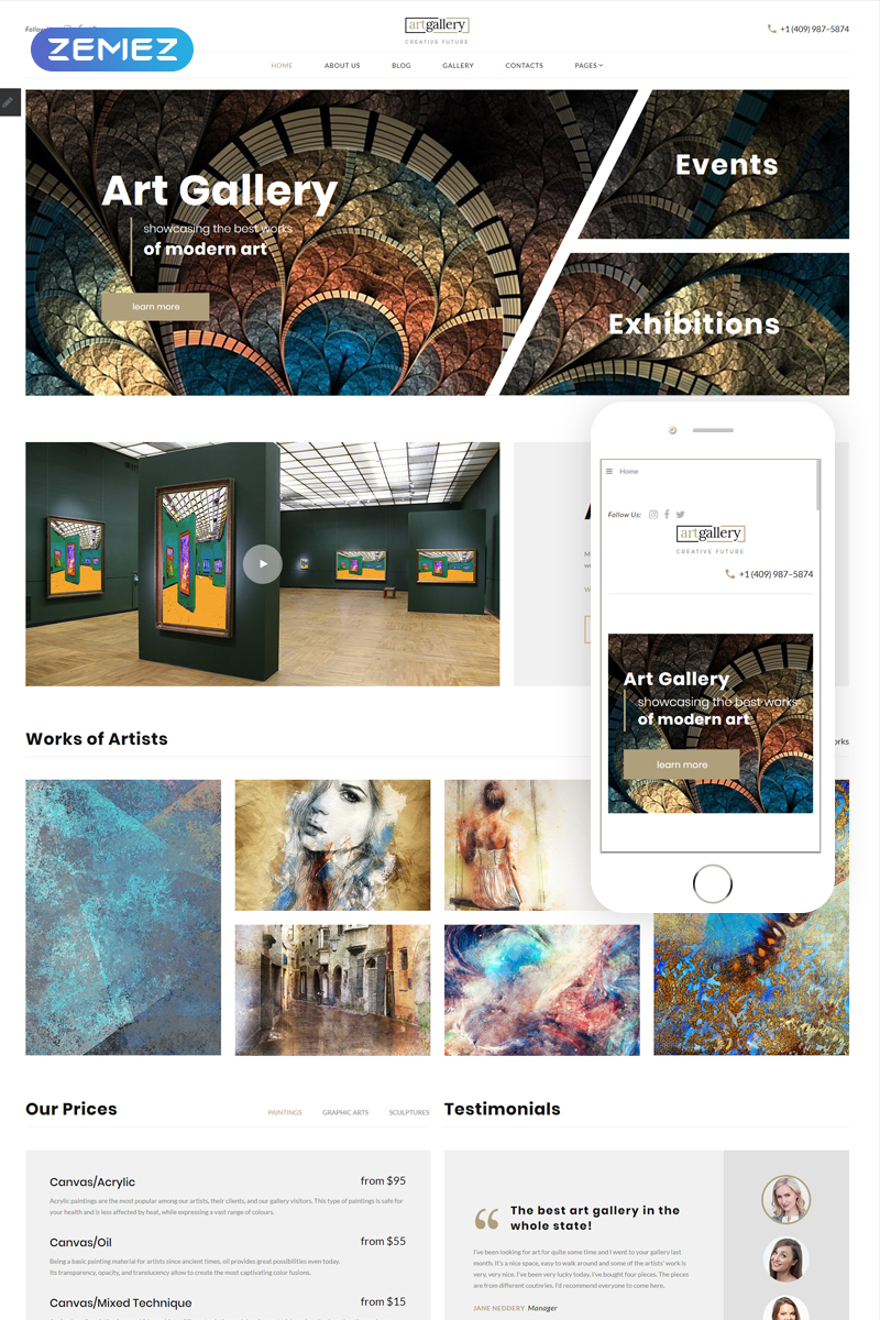 "Template Joomla Responsive #75514 ""artgallery - Art Responsive Elegant"""