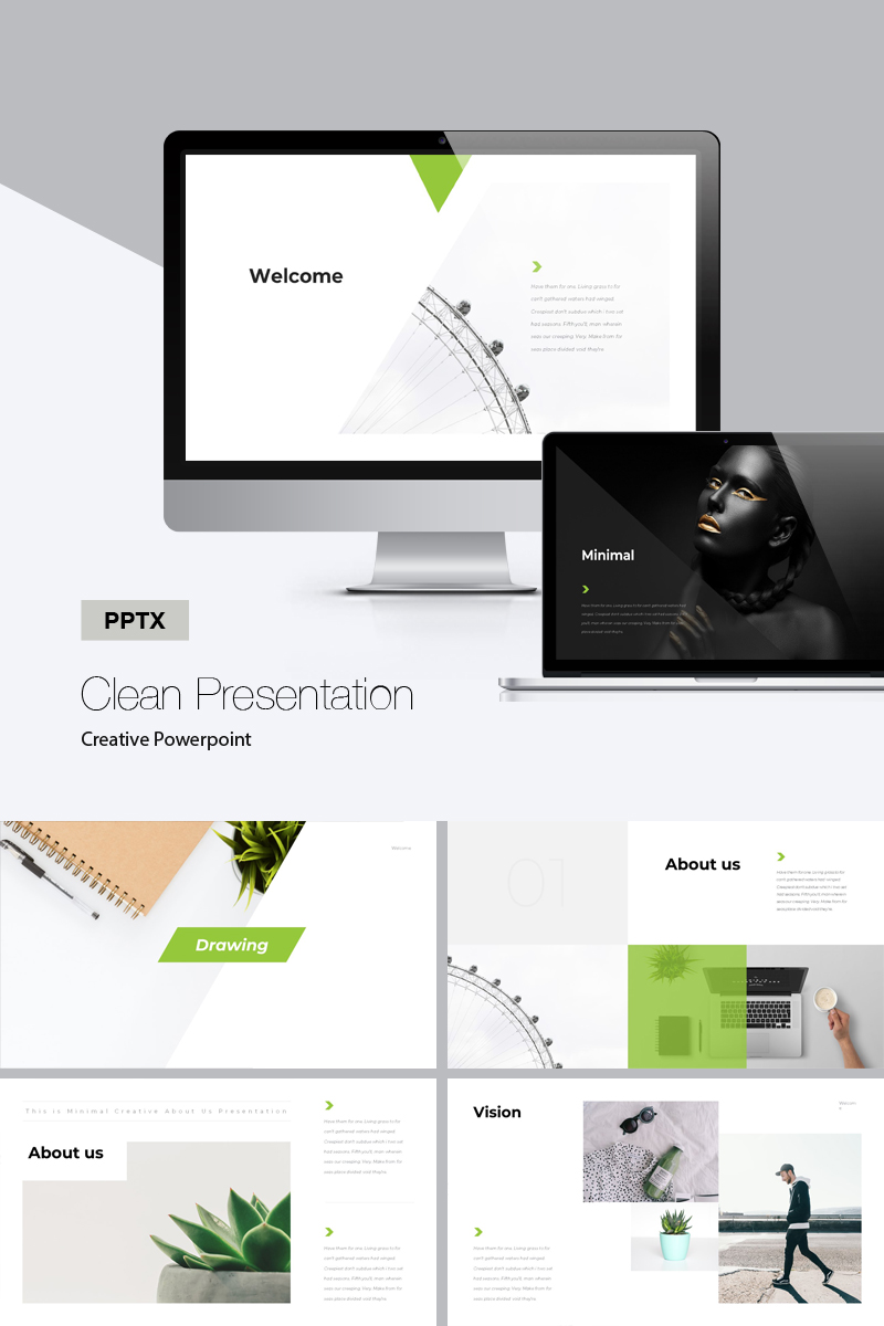 """Clean -"" PowerPoint Template №75676"
