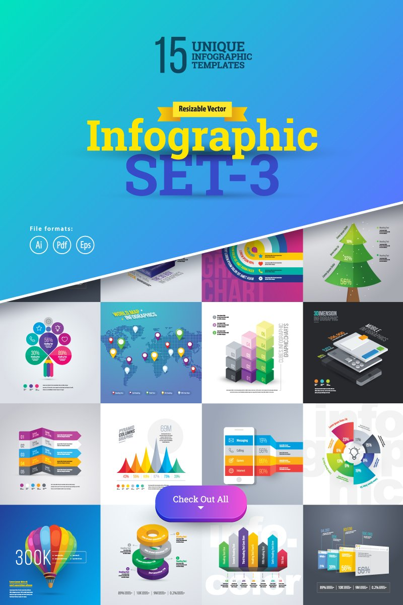 "Elementos De Infografía ""3D Business Set-03"" #75624"