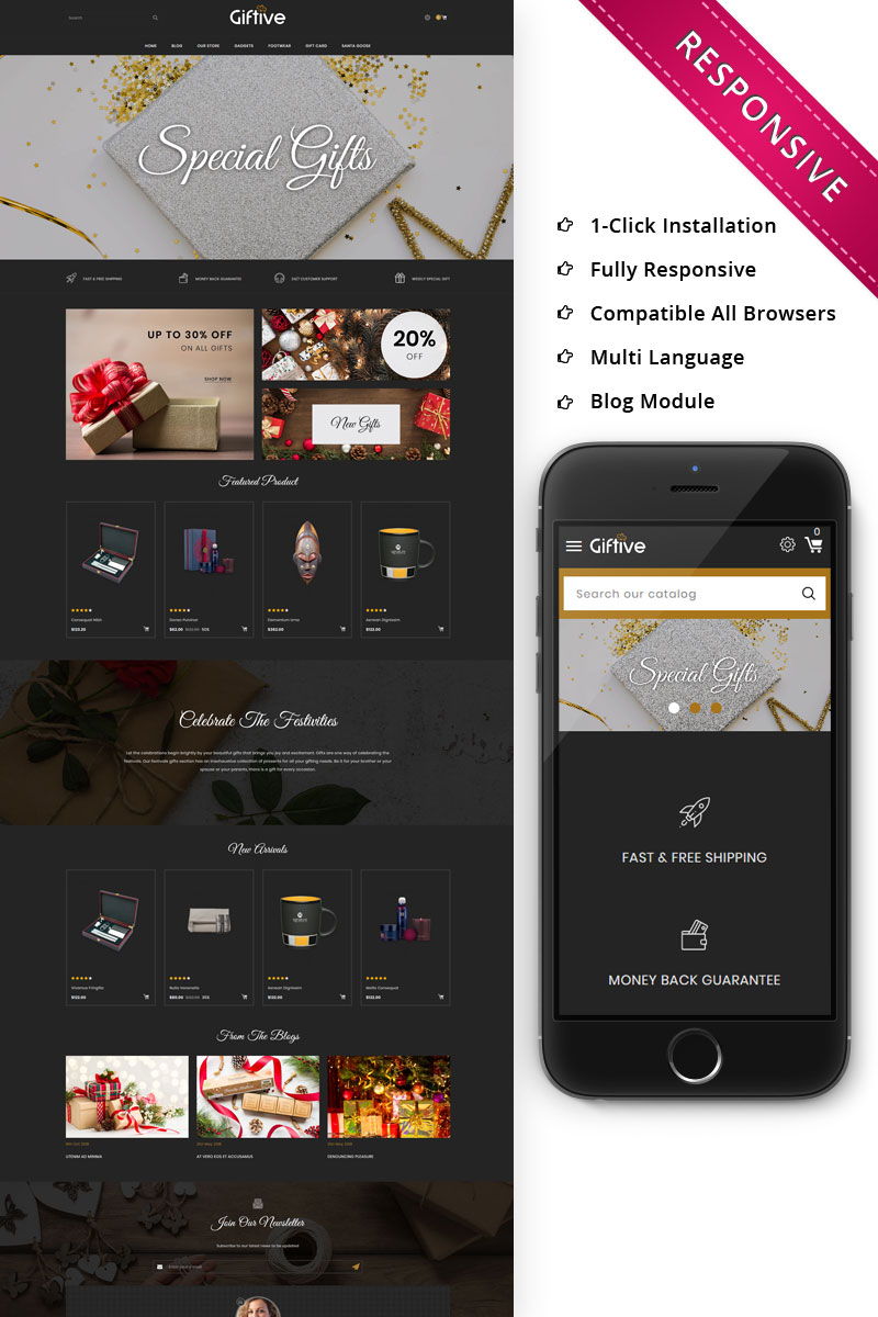 """""""Giftive - The Gift Store Responsive"""" Bootstrap OpenCart Template №75616"""