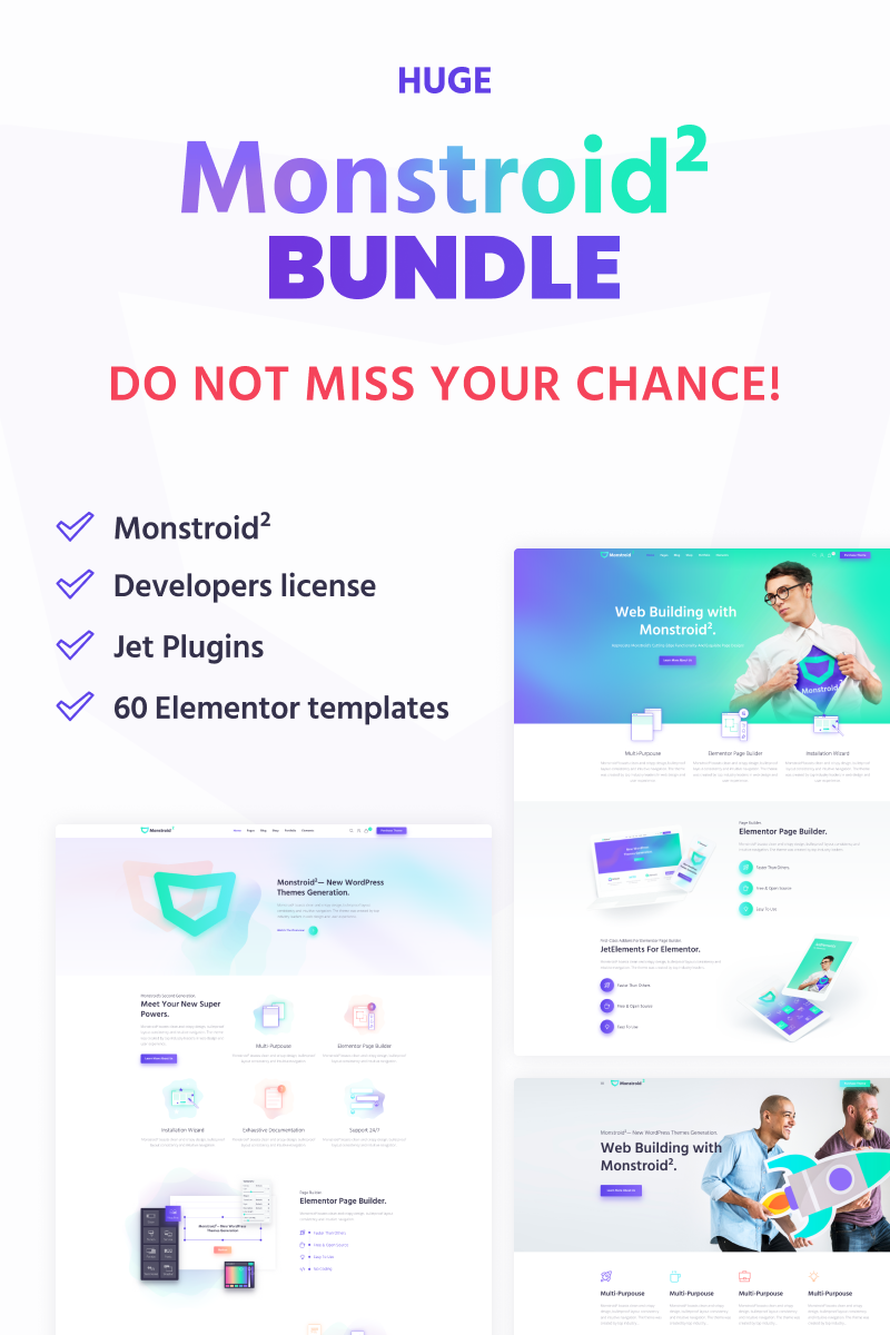 """HUGE Monstroid2 Elementor Bundle"" WordPress thema №75645"