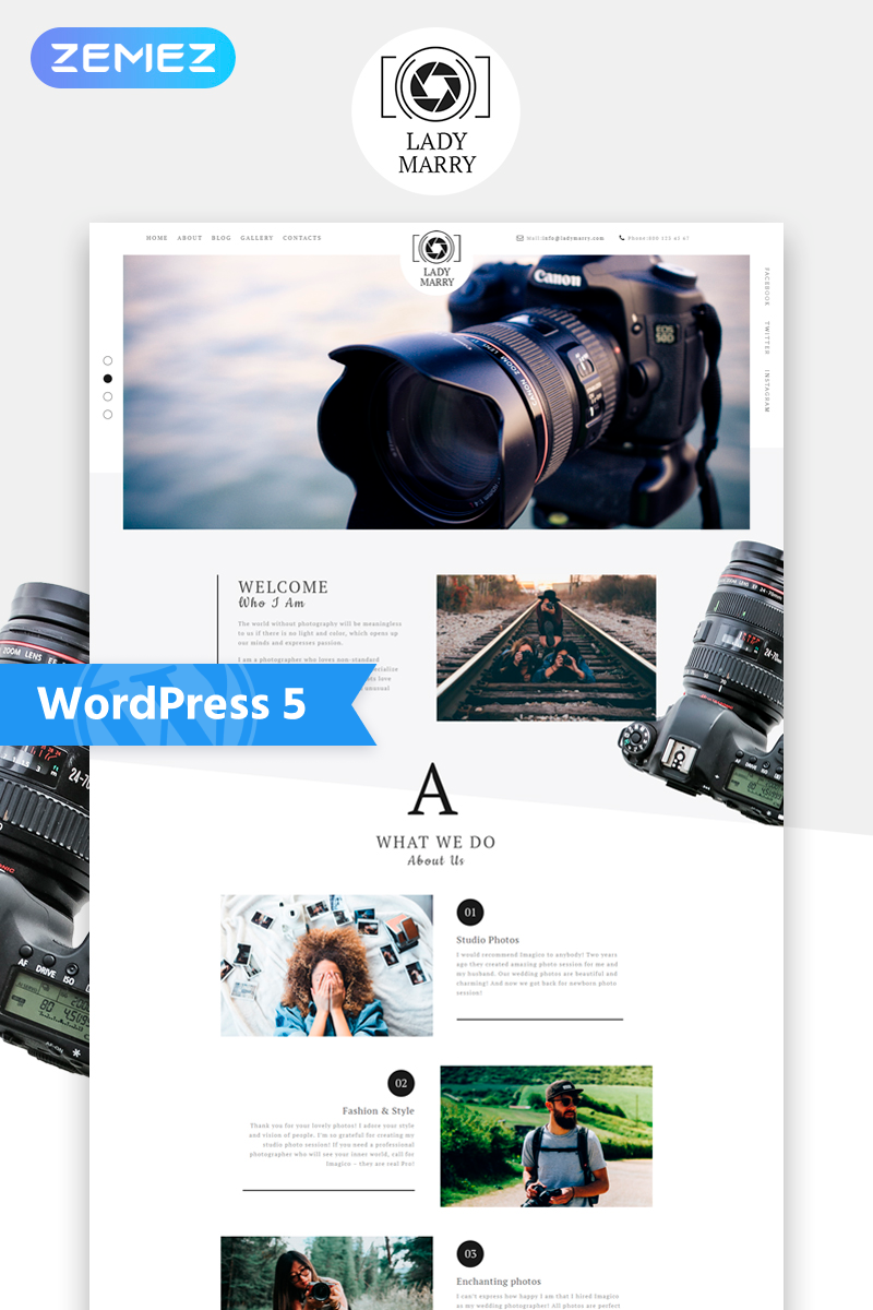 Lady Marry - Photography Ready-to-use Creative Elementor WordPress Theme - screenshot