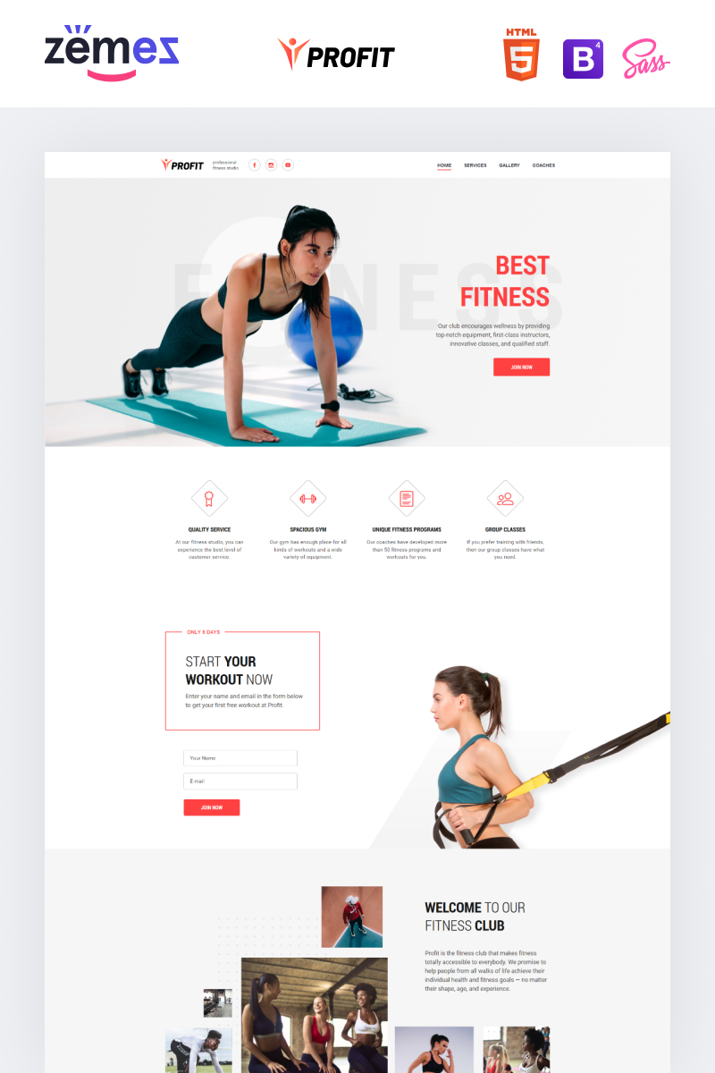 """Landing Page Template namens """"Profit - Sport One Page Minimal Bootstrap4 HTML"""" #75656"""