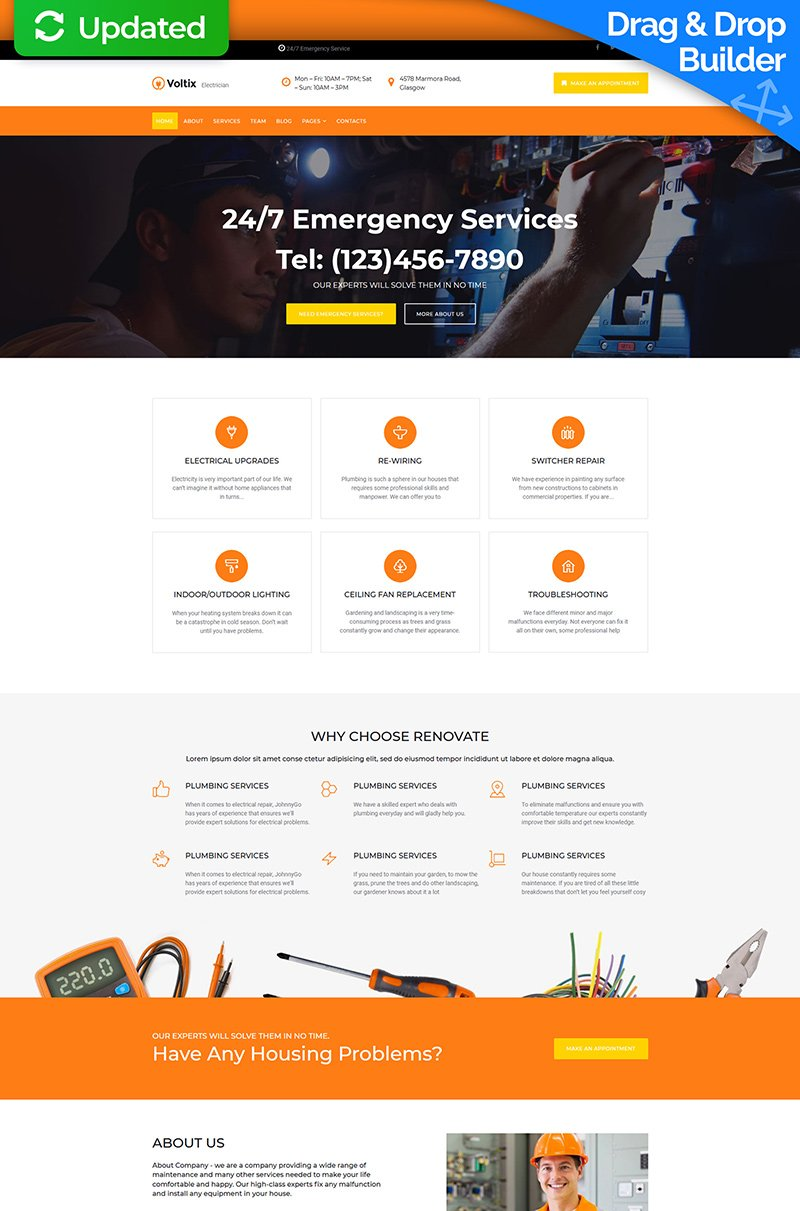 "Moto CMS 3 Template namens ""Voltix - Electrical Services"" #75646"