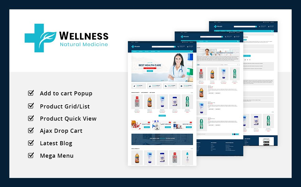 Responsive Wellness Medicine Store Prestashop #75644