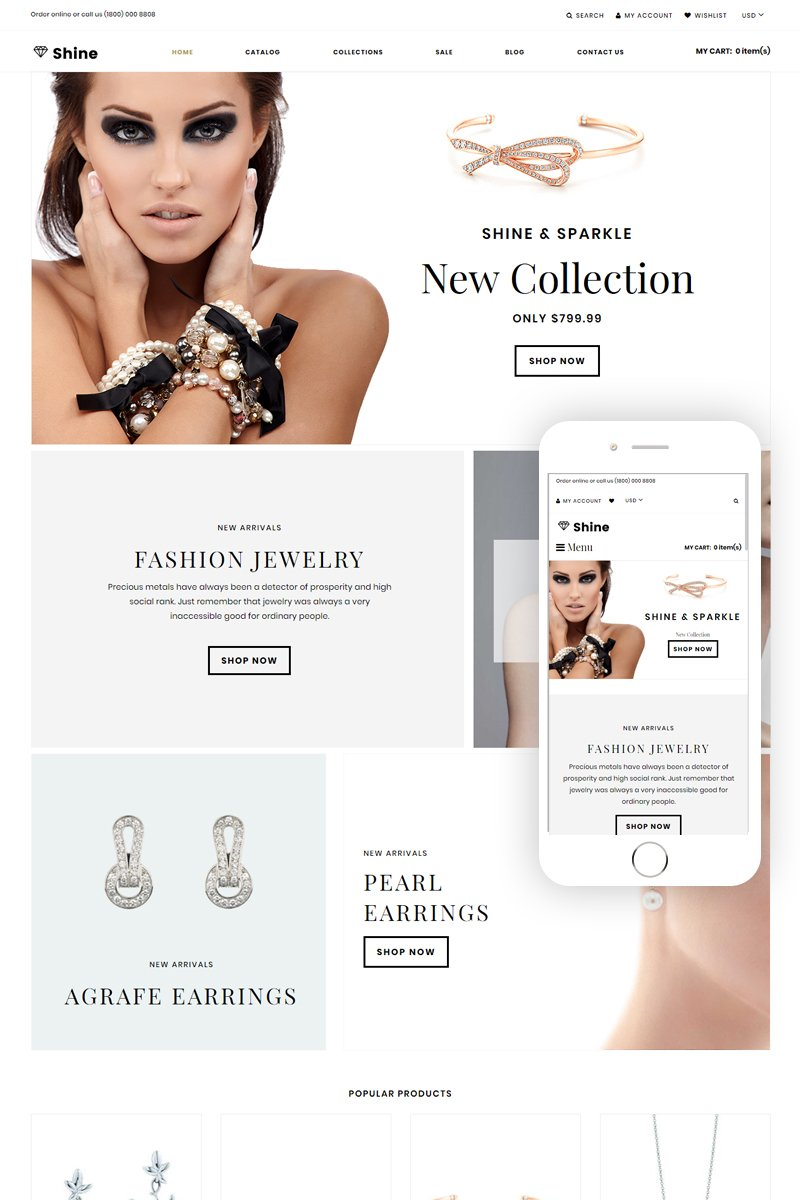 Responsivt Shine & Sparkle - Jewelry Store Clean Shopify-tema #75670