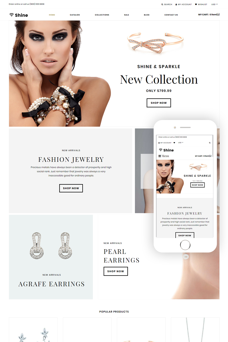 """""""Shine & Sparkle - Jewelry Store Clean"""" Responsive Shopify Thema №75670"""
