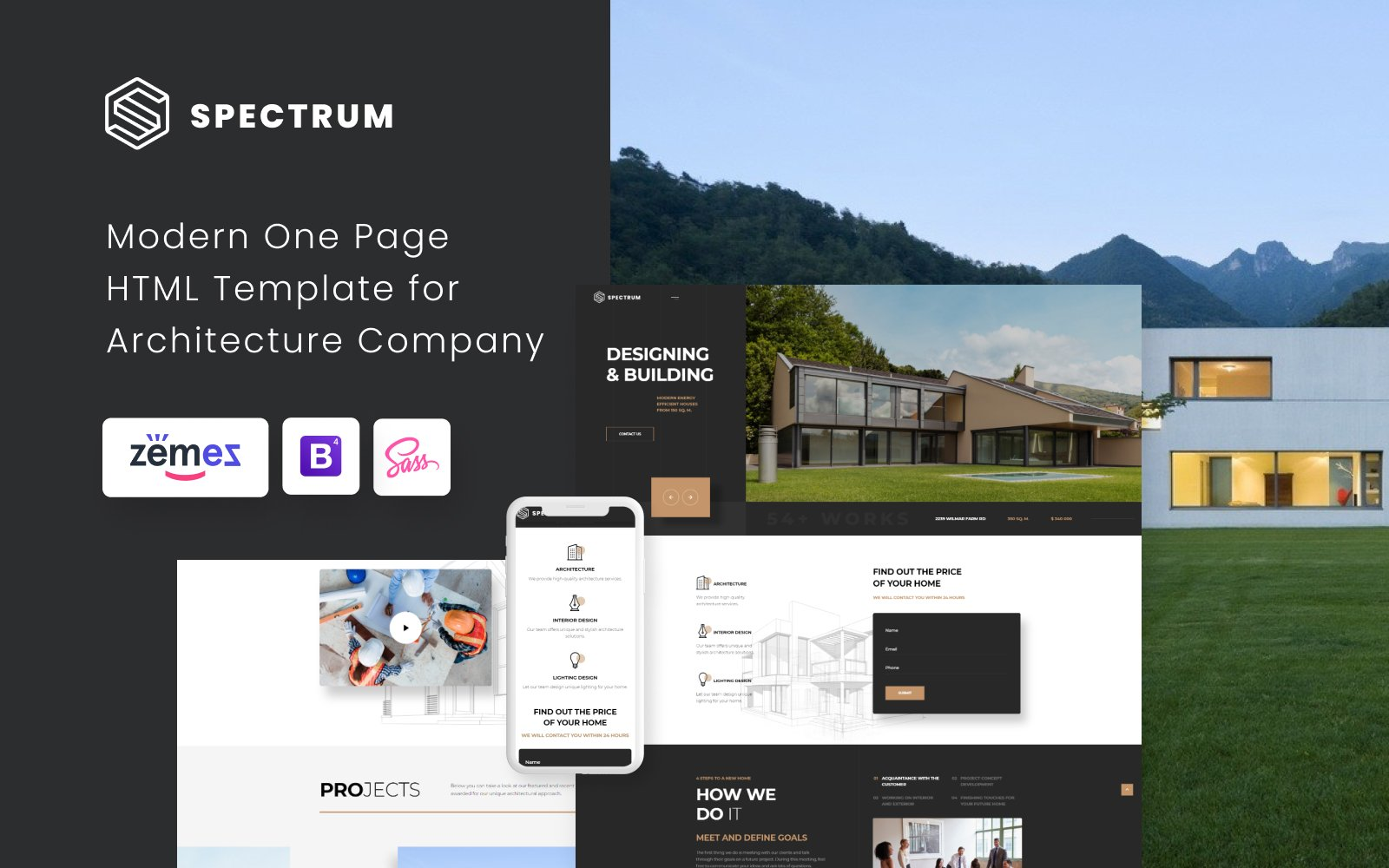 """Spectrum - Architecture One Page Modern HTML"" 响应式着陆页模板 #75697"