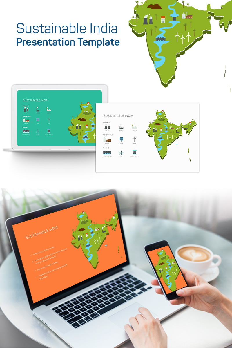 """""""Sustainable India"""" PowerPoint Template №75631"""
