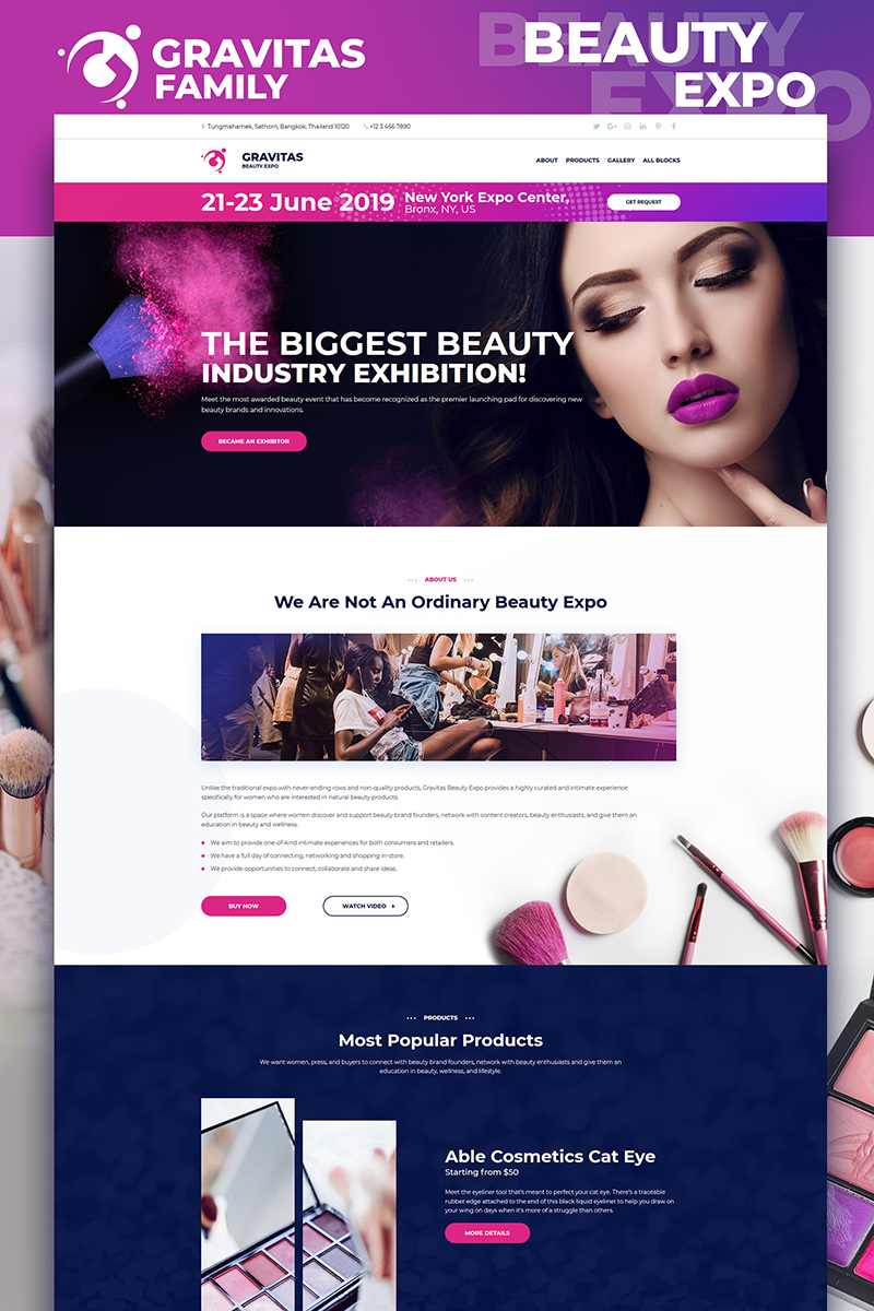 "Tema di Landing Page Responsive #75687 ""Gravitas - Beauty Expo MotoCMS 3"" - screenshot"