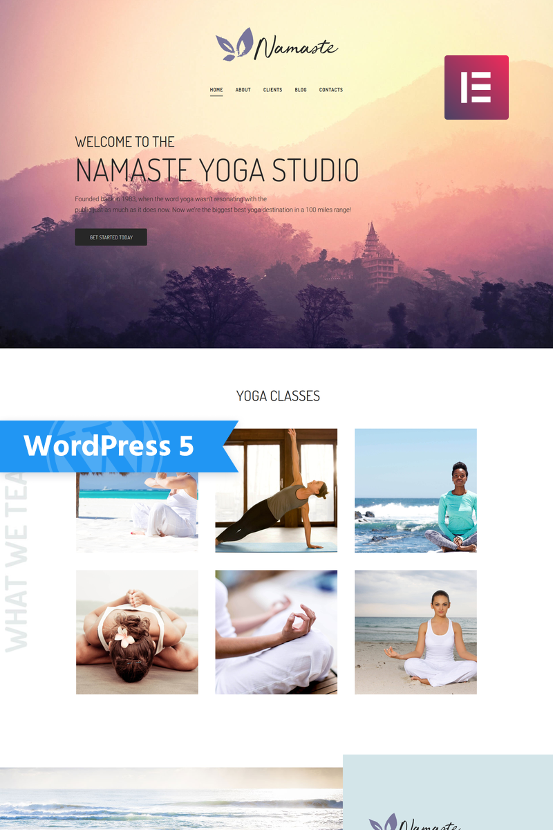 "Tema WordPress Responsive #75651 ""Namaste - Yoga Studio Ready-to-use Minimal Elementor"""