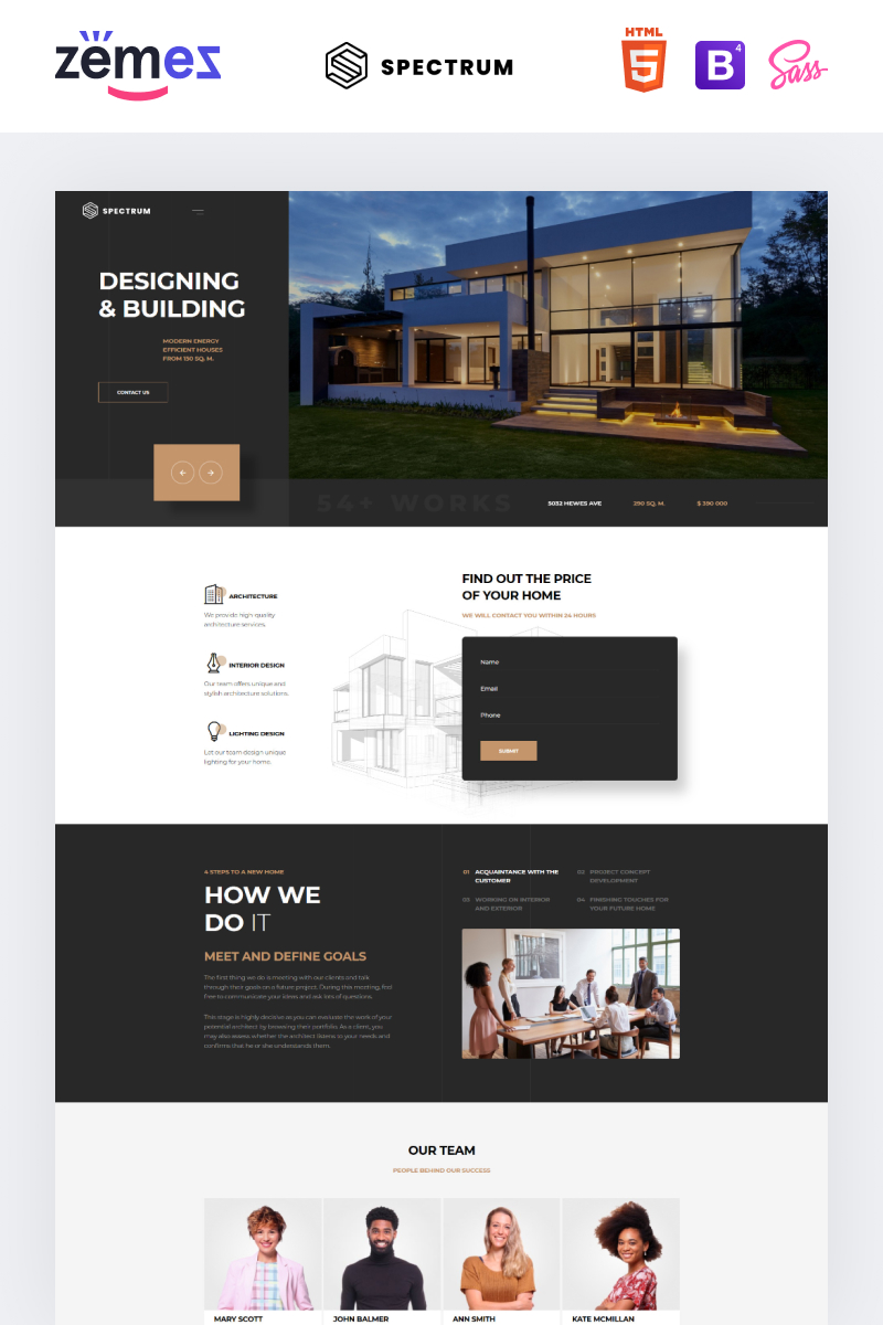 "Template di Landing Page Responsive #75697 ""Spectrum - Architecture One Page Modern HTML"""