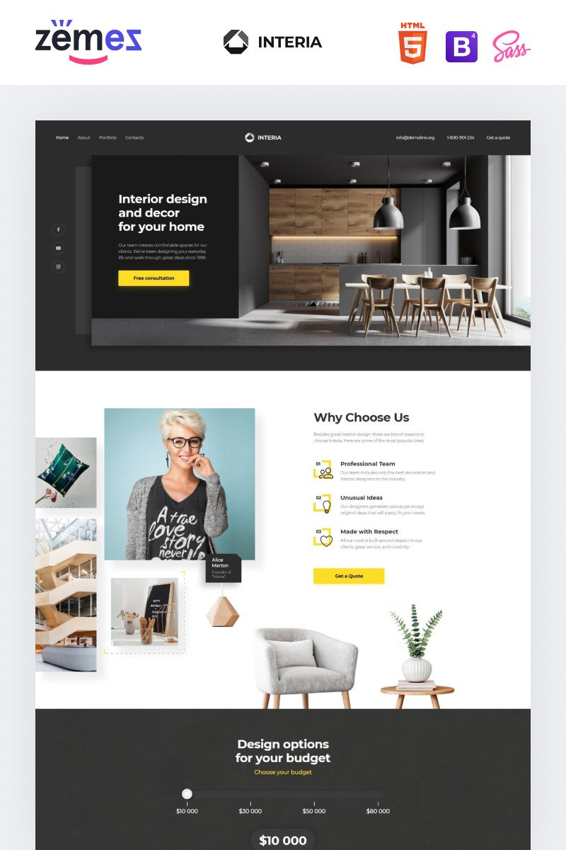 Interia Design One Page Creative Html Landing Page Template