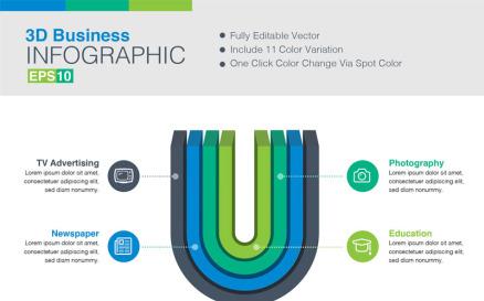 3D Vector Infographic Element
