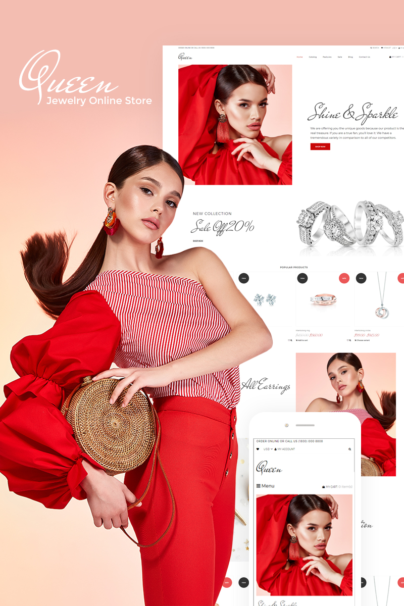 Website Design Template 75795 - beauty ecommerce jewelry shop shopify storeundefined