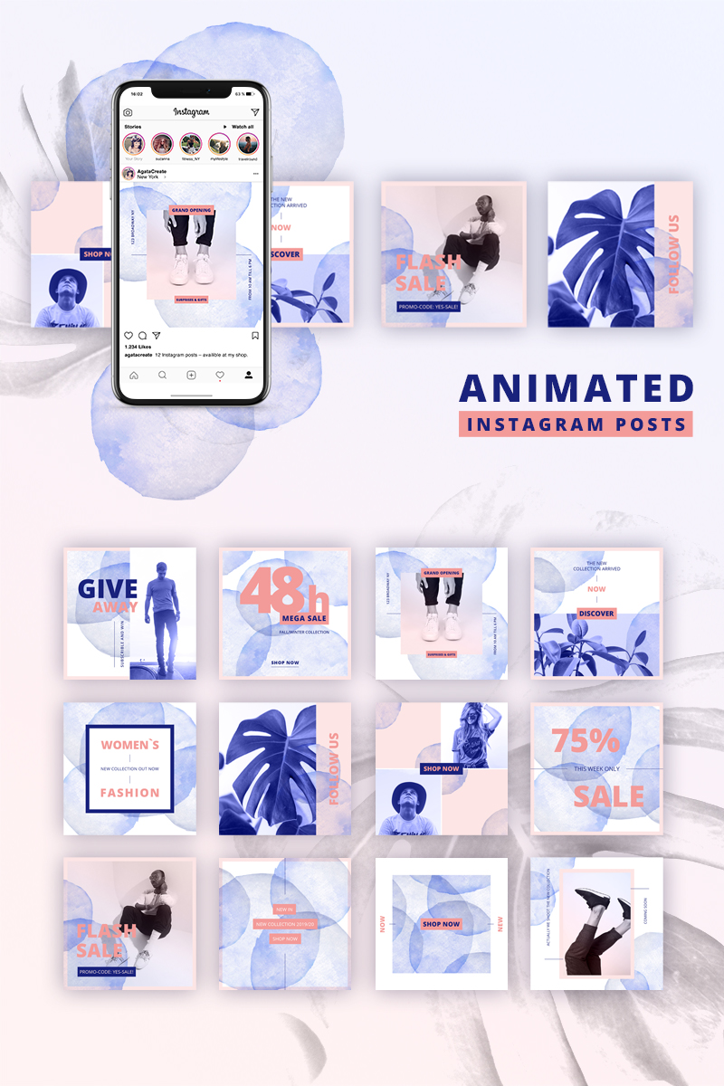 """ANIMATED Instagram Posts – Bold"" - Шаблон для соцмереж №75731"