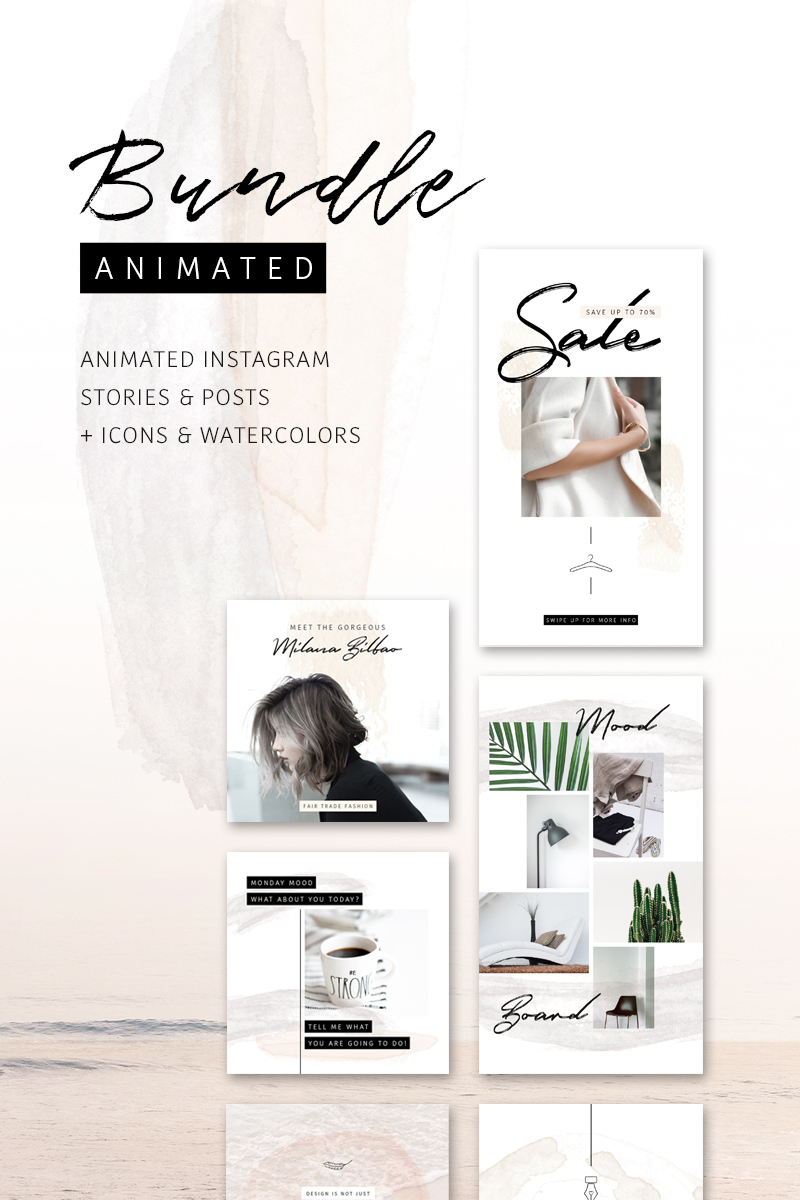 """""""BUNDLE: ANIMATED Instagram Stories & Posts – So Female"""" 社交媒体 #75739"""