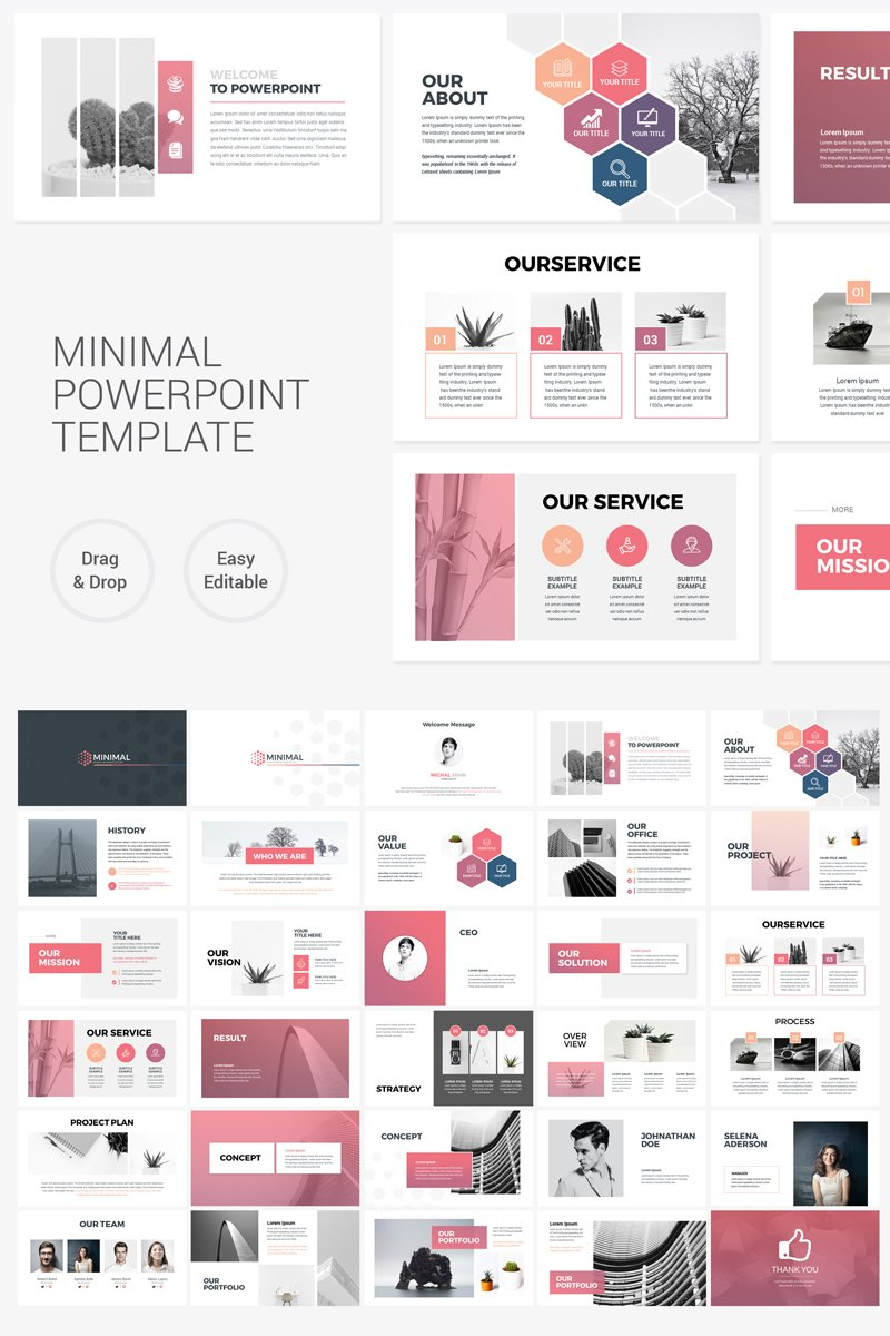 clean minimal presentation powerpoint template  75798