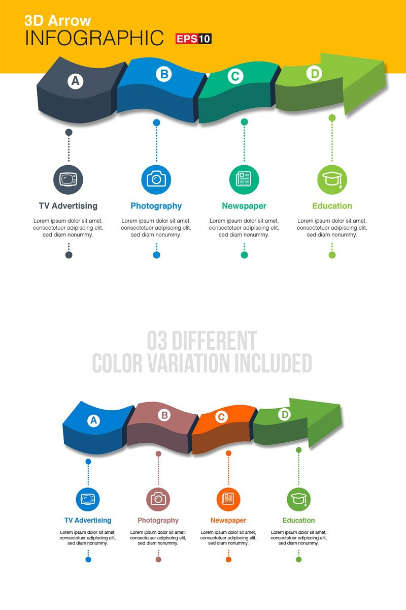 """3D Vector Arrow"" Infographic Elements №75788"