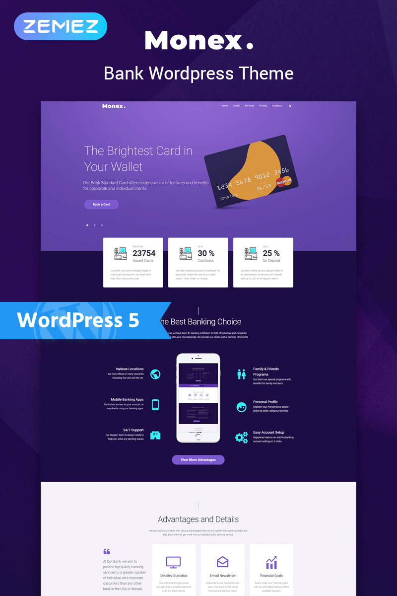 Monex - Bank Services Multipurpose Classic Elementor WordPress Theme