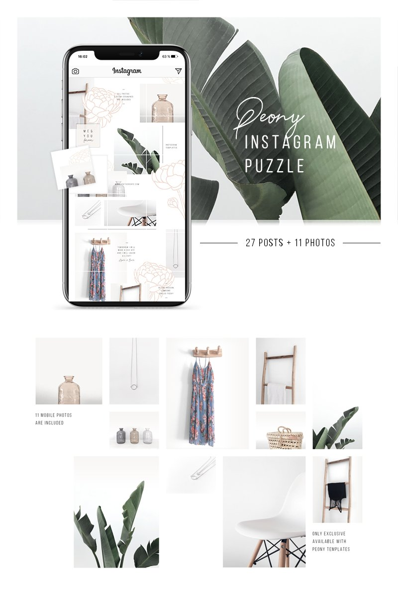 Peony Instagram Puzzle + 11 Photos Social Media - screenshot
