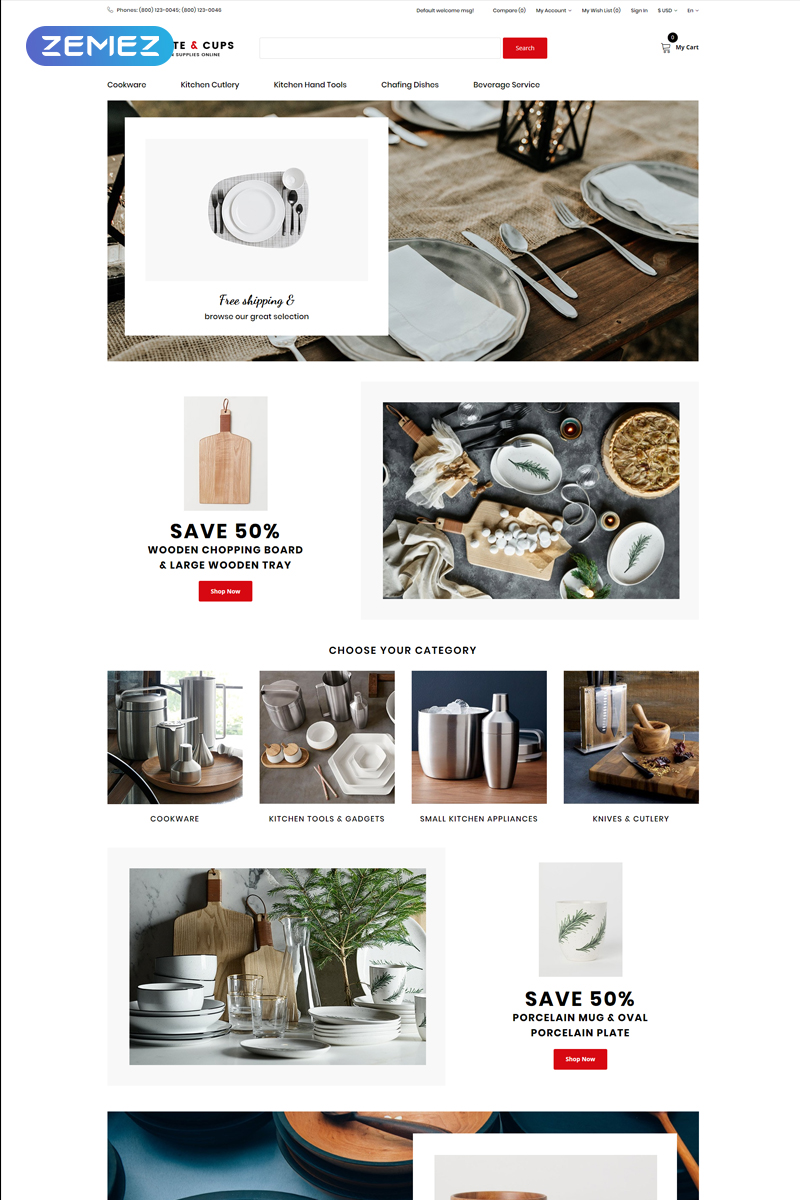 """""""Plate & Cups - Food and Restaurant Simple Clean Bootstrap"""" Responsive OpenCart Template №75703"""