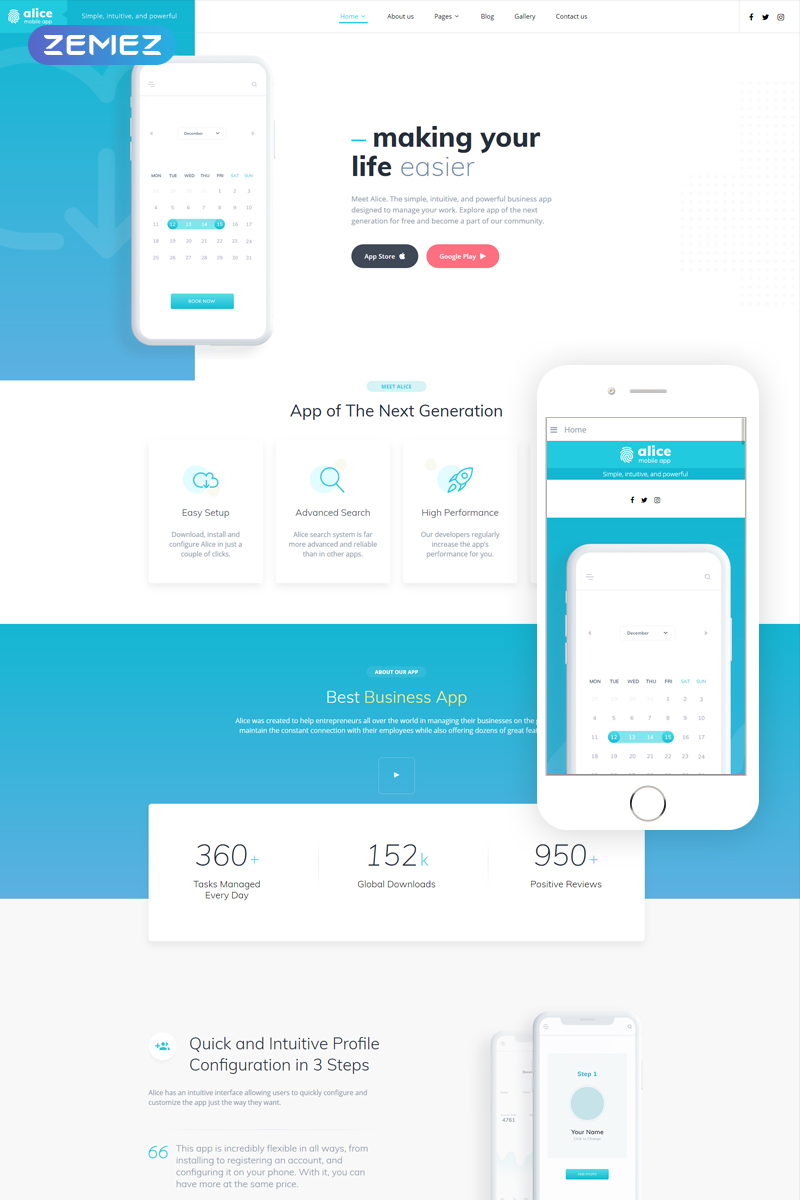 Reszponzív Alice - Mobile App Clean Joomla sablon 75793