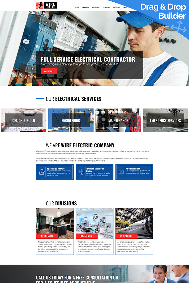 Wire - Electrical Company Templates Moto CMS 3 №75773