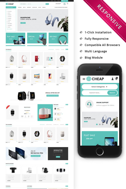 Website Design Template 75817 - clean clothes electronic electronics furniture html modern online store product shopping prestashop ecommerce multistore megashop
