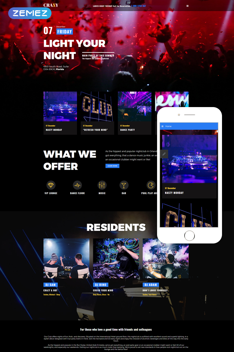 Crazy - Night Club Modern Responsive Joomla Template